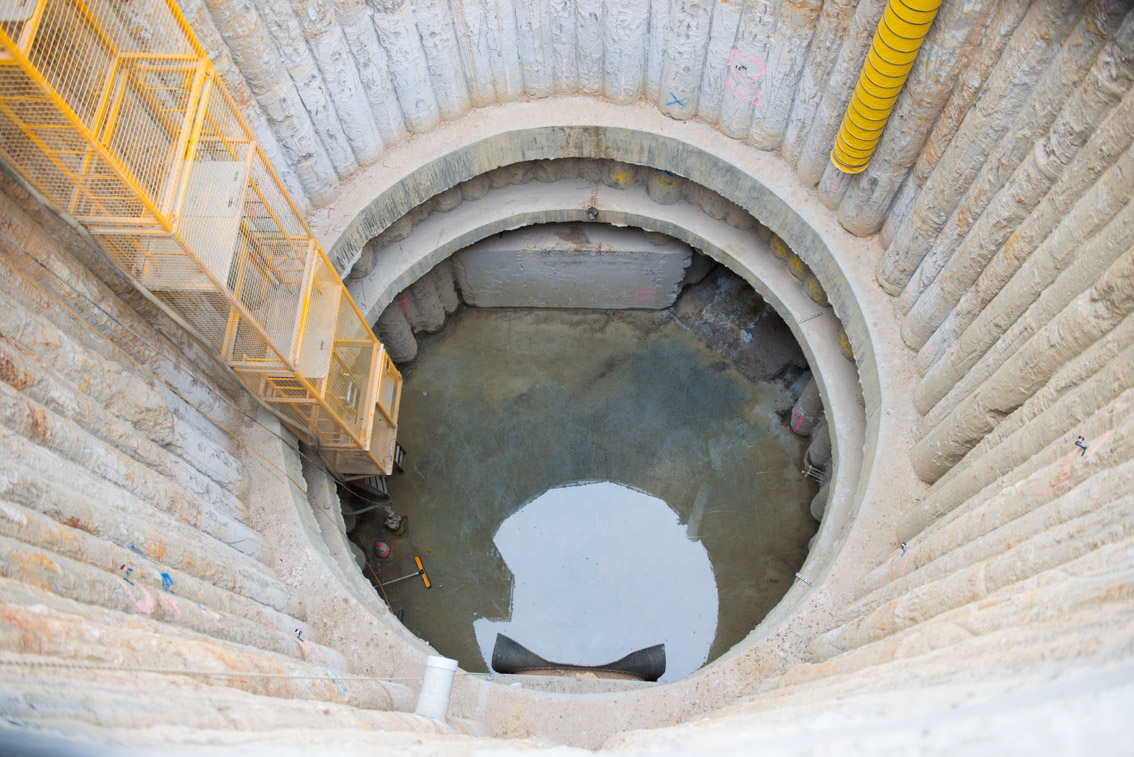 Inside an access shaft at Domain Road.