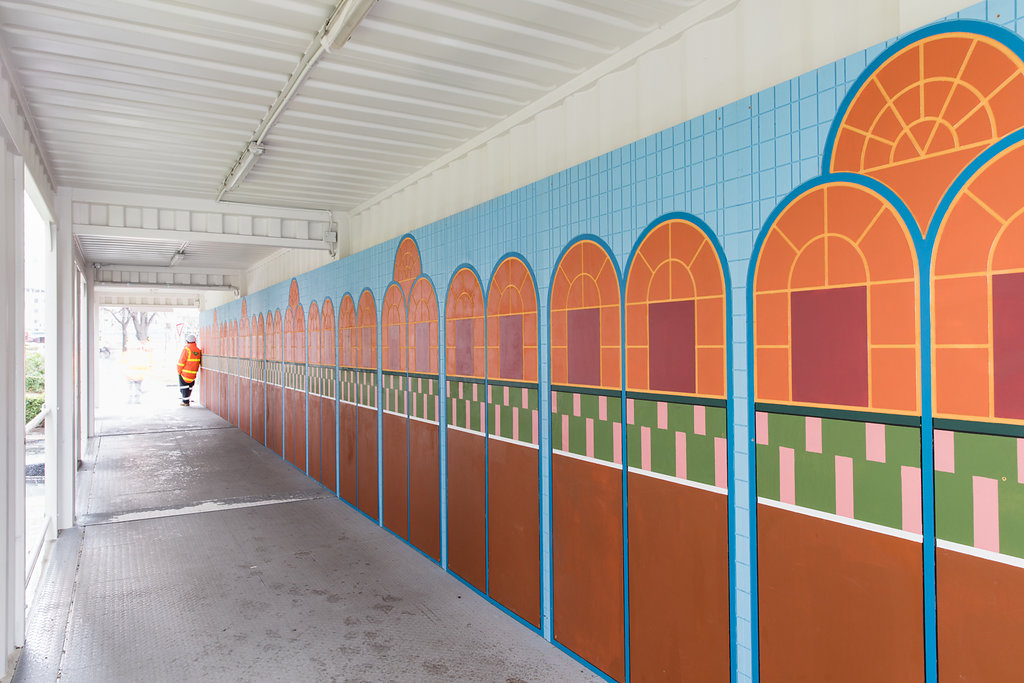 Artwork at the Anzac Station construction site