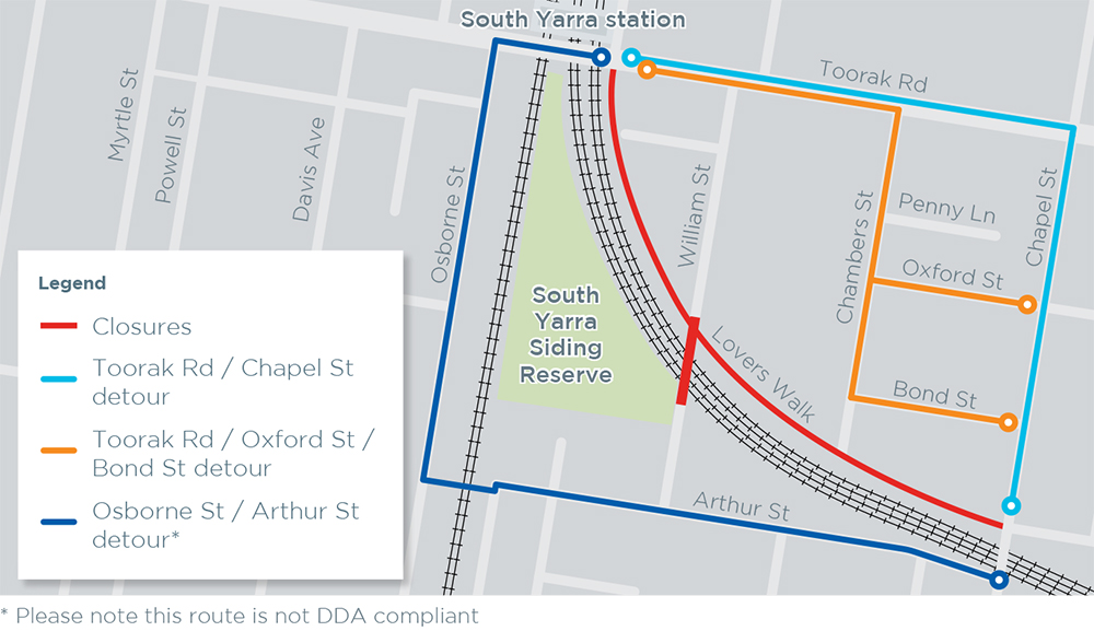Pedestrian detour routes around Lovers Walk and William Street Bridge