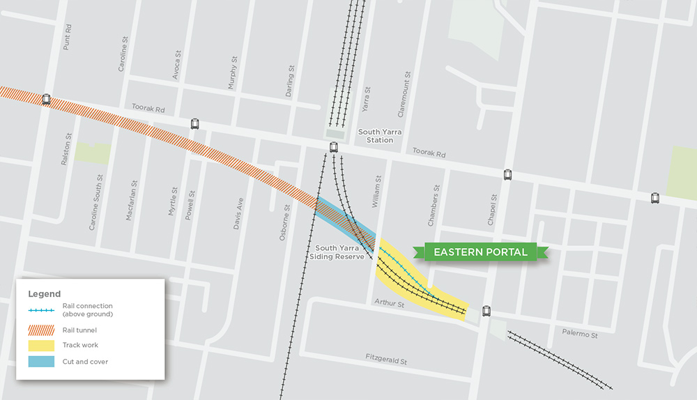 Eastern Portal - map showing rail connection, track work, rail tunnel and cut and cover location
