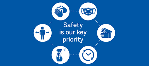Graphic of PPE and the words 'Safety is our key priority