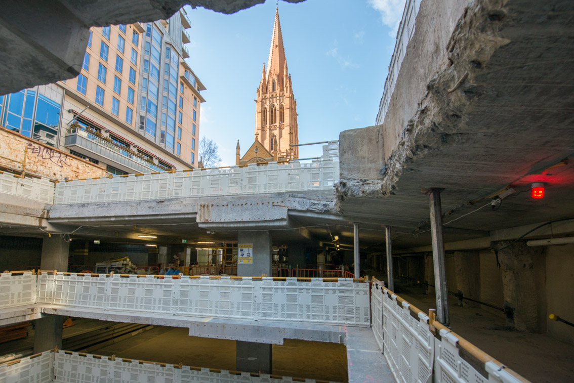 Looking through multiple levels of City Square car park, September 2017.
