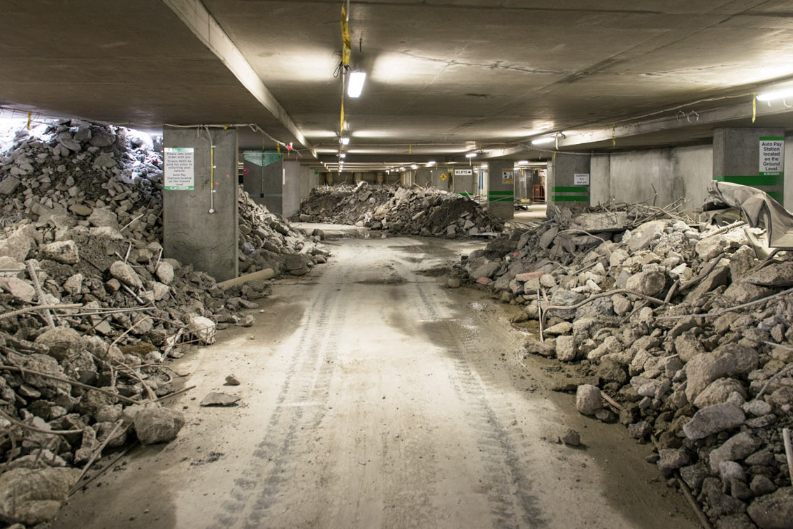 Rubble and debris inside the car park underneath City Square, November 2017.