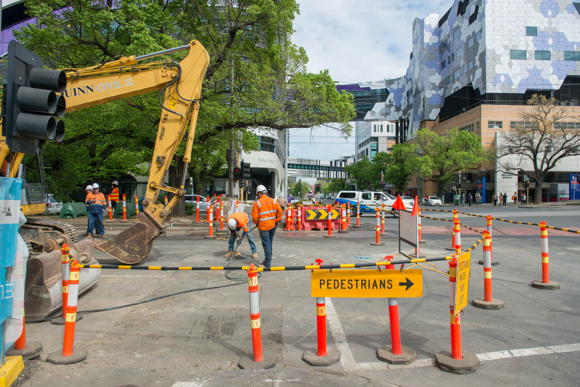 Works at the intersection of Grattan Street and Royal Parade.