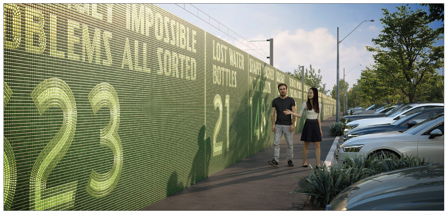 Render of proposed artwork of green tiles on a a wall showing the text 'Lost water bottles: 21