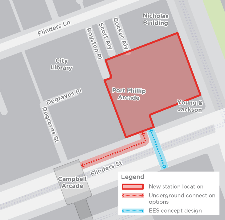 Connection via Campbell Arcade beneath Flinders Street, within the northern side of the road reserve (approved Development Plan option).