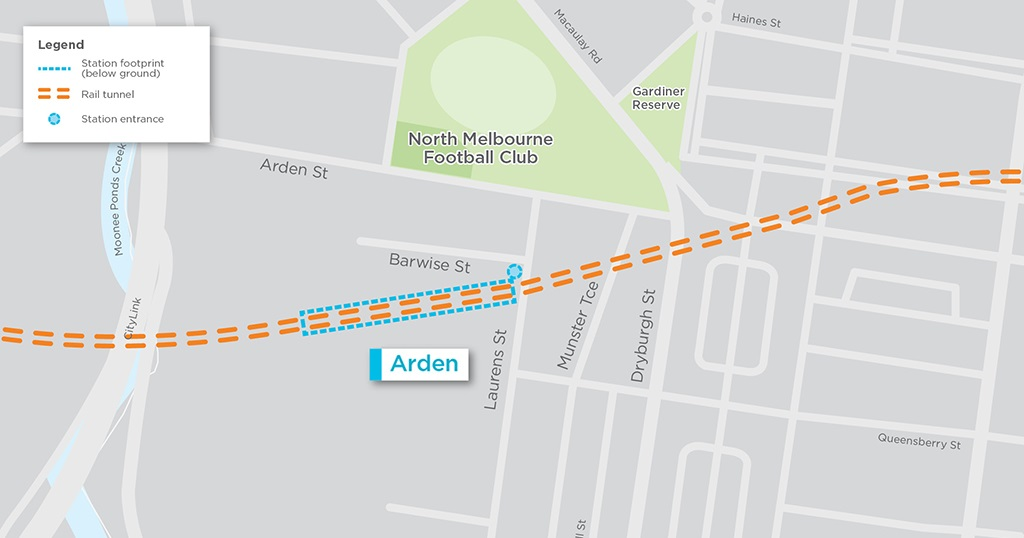 Map showing location of the new North Melbourne Station precinct