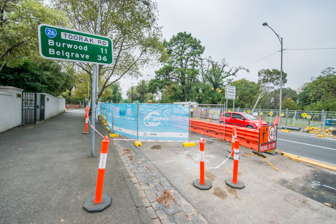 Closed lanes during works nearby Toorak Road, April 2017.