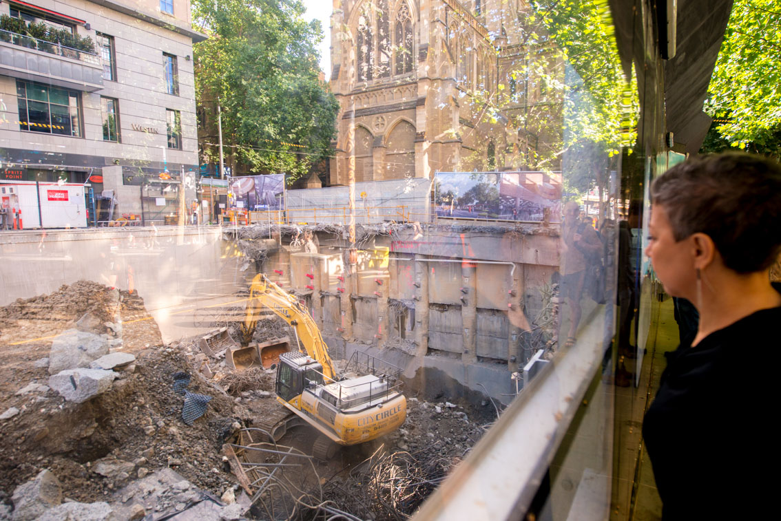 Inside the City Square site from the viewing windows on Swanston Street.