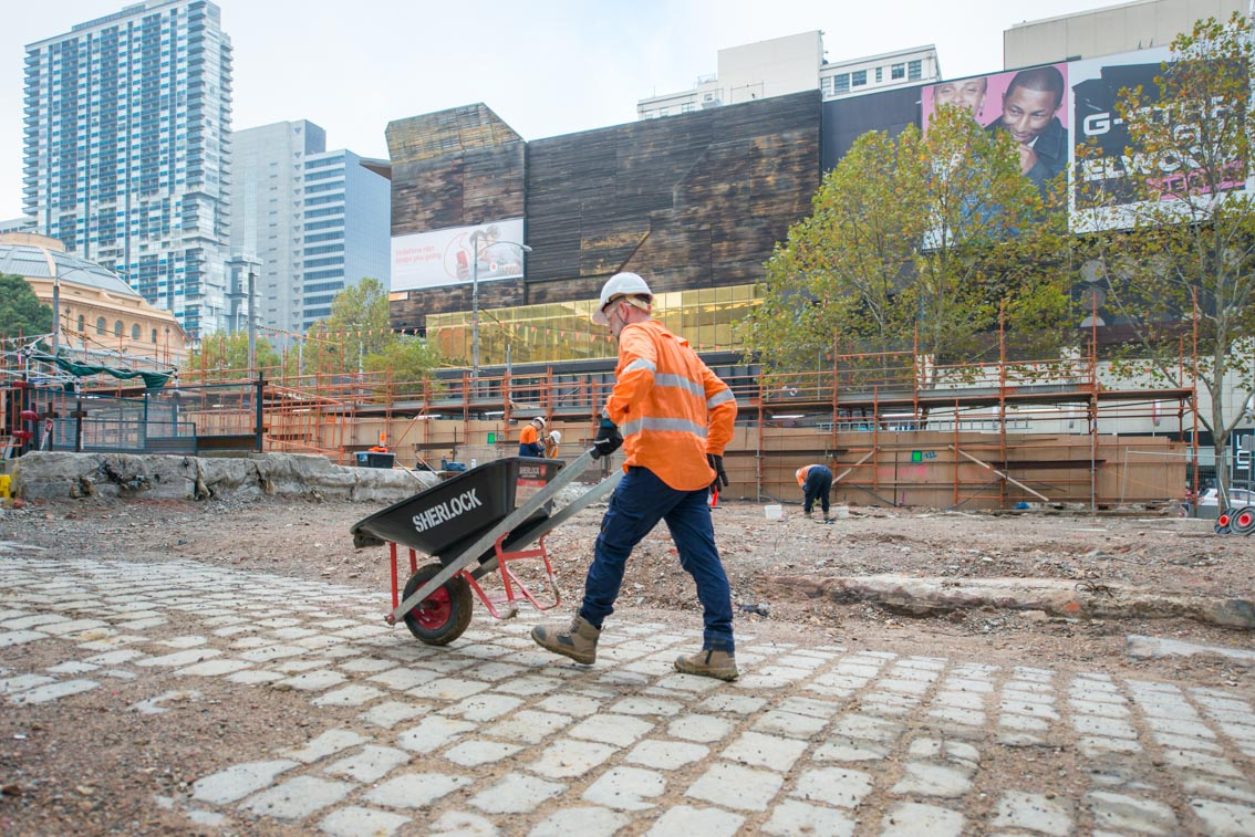 Archaeological work underway at the site of the future State Library station