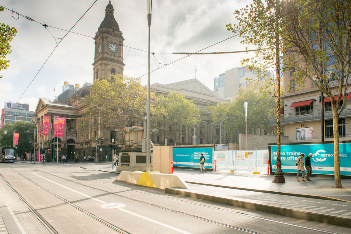 Town Hall at City Square at the corner of Swanston and Collins streets.