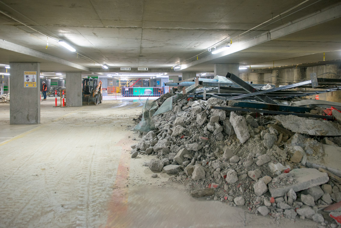 Piles of debris inside the car park at City Square.