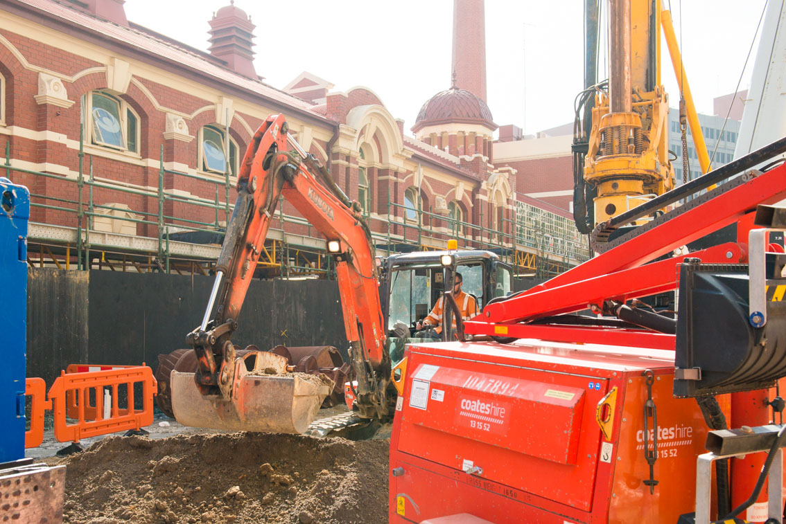 Excavation works by City Baths building at Franklin Street.