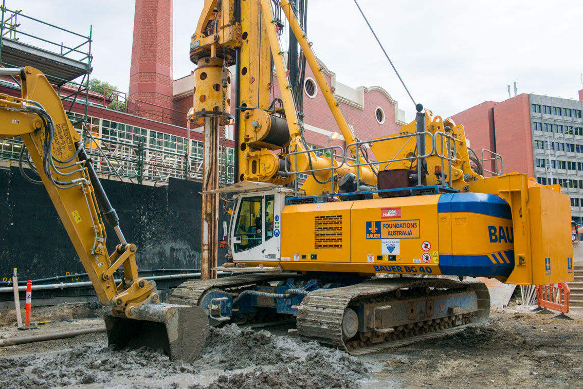 Piling and excavation works at Franklin Street, May 2017.