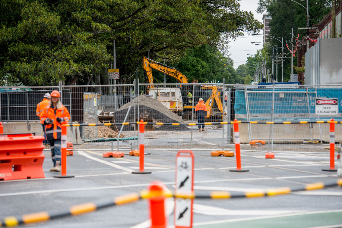 Domain Road closed off and undergoing works, January 2018.