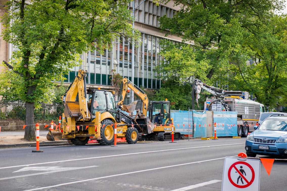 Works on Grattan Street in front of University of Melbourne's Centre for Spatial Data Infrastructures and Land Administration.