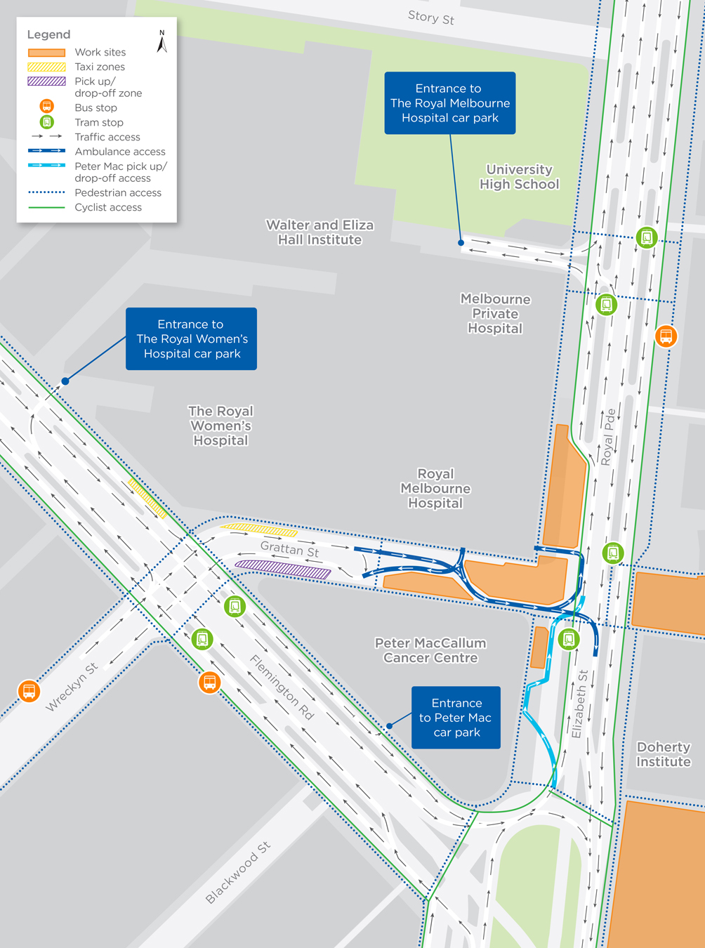 Map of long term lane closures in Parkville
