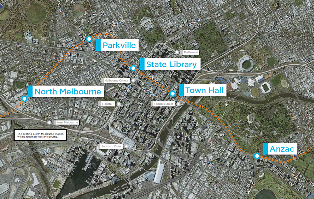 Map of the Melbourne Metro Rail Project alignment