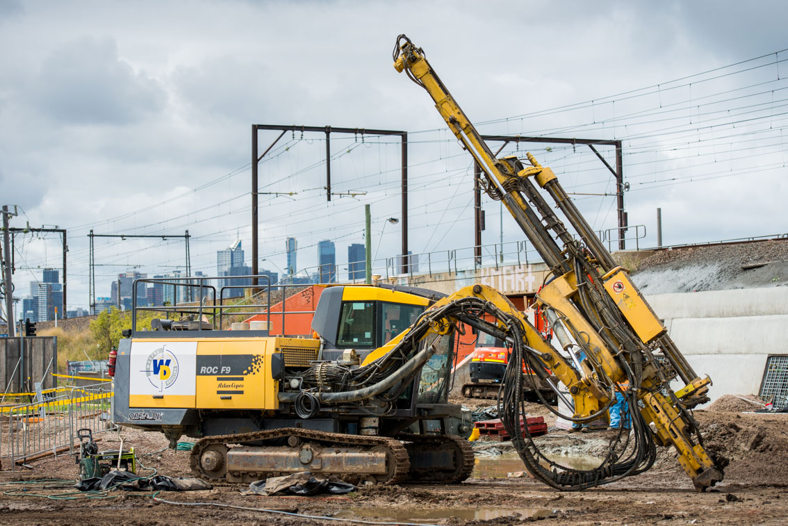 A ROC F9 crawler drill rig at the Kensington Rd/Hobson Rd site.