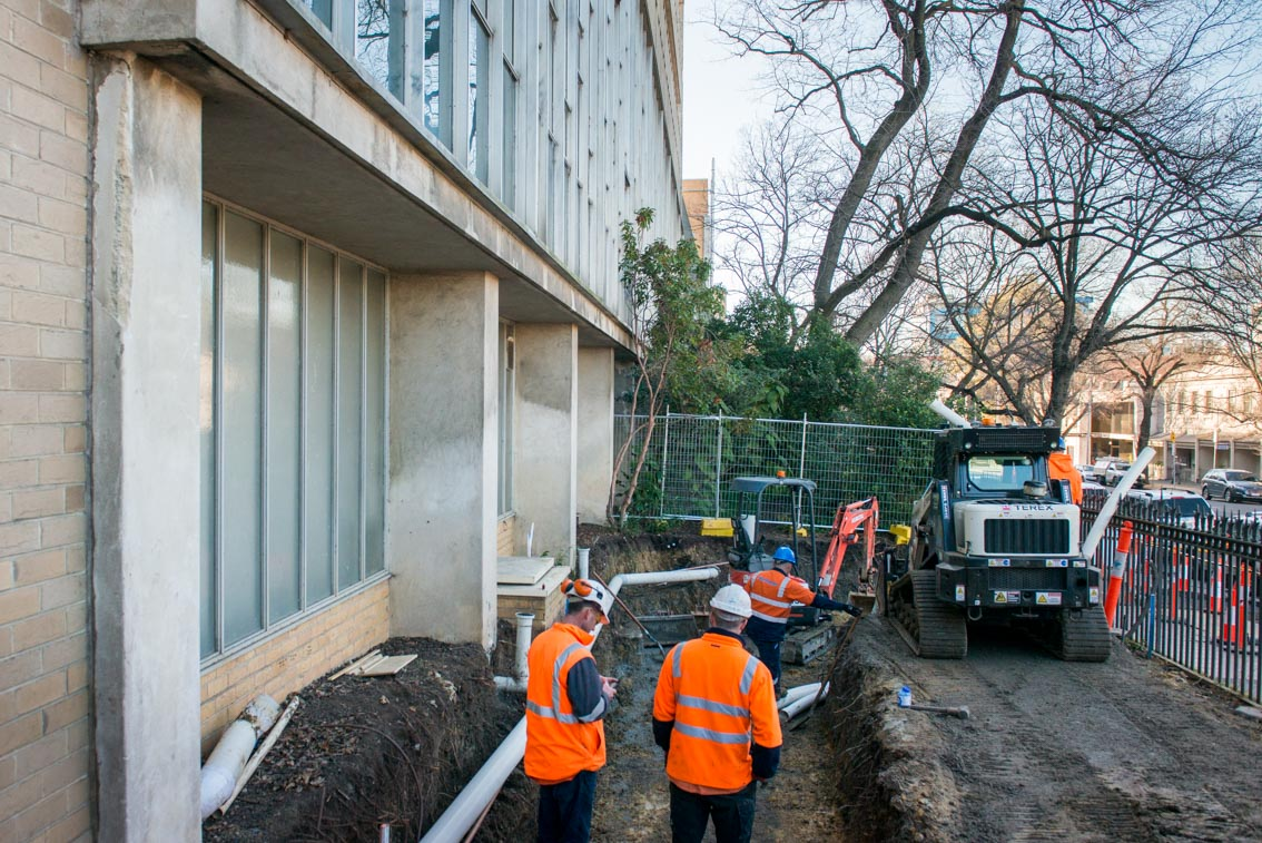 Excavation works in front of University of Melbourne's Centre for Spatial Data Infrastructures and Land Administration.